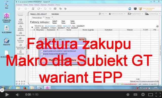 Przyjęcie faktury z Makro z wykorzystaniem pliku EPP