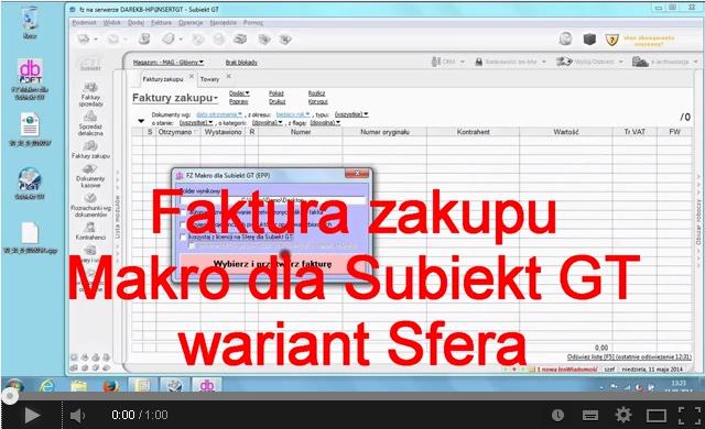 Przyjęcie faktury z Makro z wykorzystaniem Sfery dla Subiekt GT