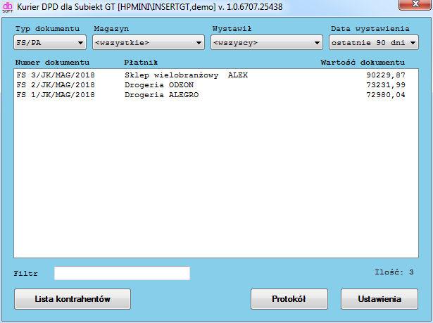 8c3d845f2162b ... oraz spełniającym pozostałe opcje filtrowania wyświetlane są w formie  listy zawierającej numer dokumentu