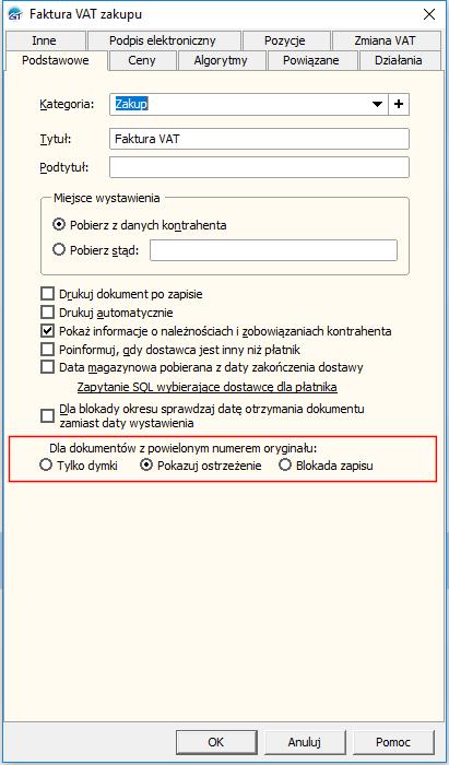 Subiekt GT numer faktury zakupu weryfikacja