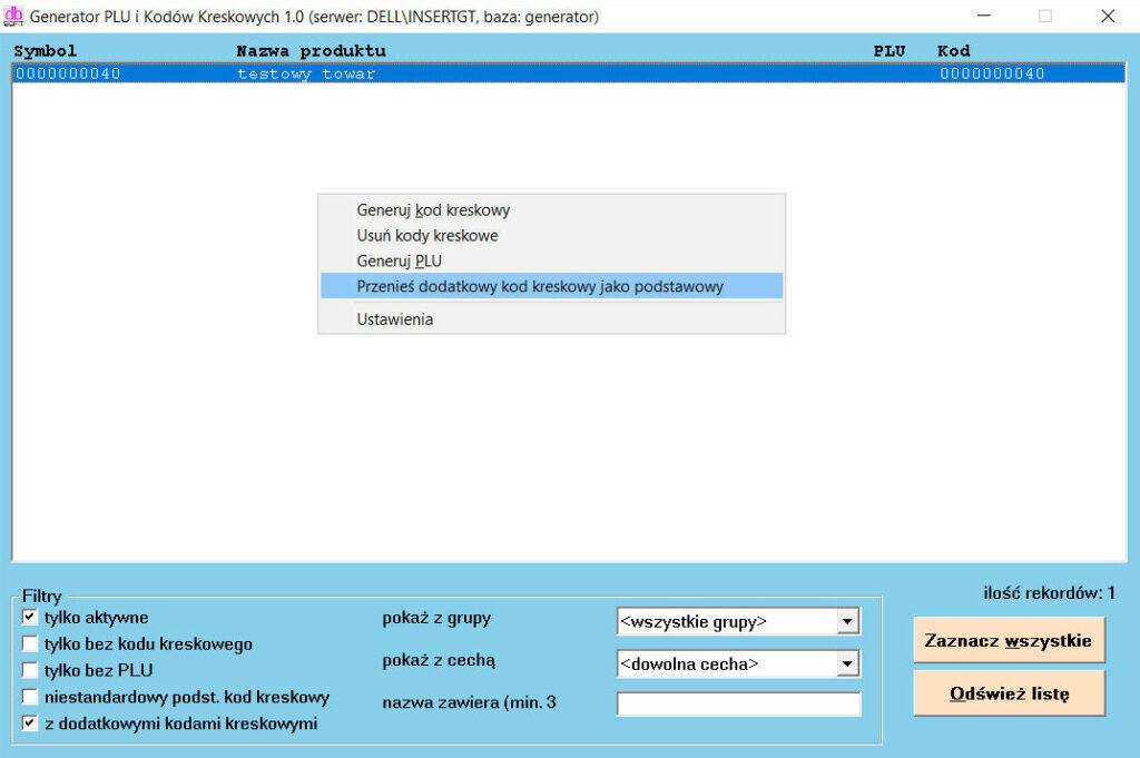 generator plu kodow kreskowych menu